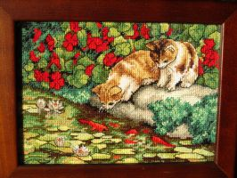 Kittens Cross stitch Framed by Santian69
