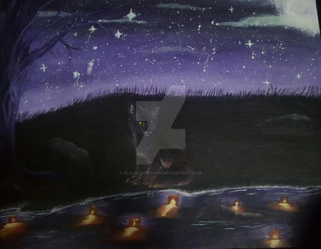 Fox by paper lanterns on water by blackcatstorm