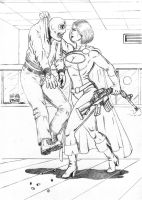 Power Girl vs. Bankrobber by RPL-Arts