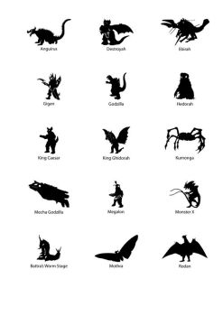 Godzilla Monster Pictogram's by Wolf-Dominia