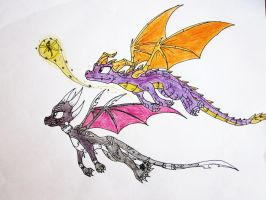 Spyro and Cynder flying by Insaneus