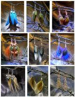 Feather and Wire Wrapped Earrings by colormecrazi