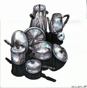 Rendering Chrome Pots and Pans by awassabee