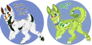 Gumdrop Raptor Adoptables: Onigiri and Mojito! by SierratheSharkDoge