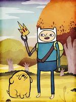 Finn the Human and Jake the Dog by rhinestoner