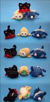 Stacking Plush: Mini Sun and Moon Starters by Serenity-Sama