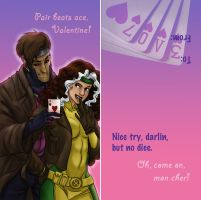 Rogue and Gambit Valentine by iesnoth