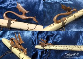 Black Walnut Dragon On Flute by 5Happy5