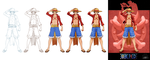 'One Piece cards : Luffy' step by step by Lily-Fu