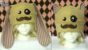 Pink Dapper Moustache Bunny and Kitty Hats by MDHatters