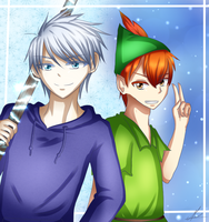 Jack Frost and Peter Pan by AkaMikaa