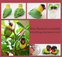 Bitty Black Masked Lovebirds - SOLD by Bittythings