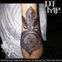 Compass tattoo by zorka calore tattoo by surfboyz12