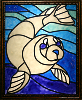 White Seal Faux Stained Glass by KiRAWRa