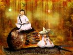 Me And My Sis Traveling With The Snail by annemaria48