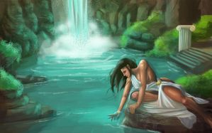 Greek priestess by waterfall by kweckduck
