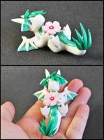 White and Green Sakura Dragon by HowManyDragons