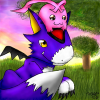 DORUmon and Tokomon X by pdutogepi