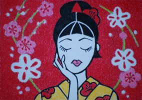 Japanese Girl, ATC by waughtercolors