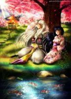 Commission: Under Blooming Sakura by galia-and-kitty