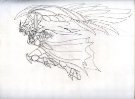 wing zero girl fly line art by karlonne