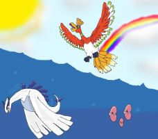 ho-oh lugia by pikachugirl101