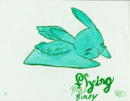 Flying mint bunny by Cozzbug