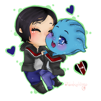 Liara + Shep Chibi Commission by Tsukahime