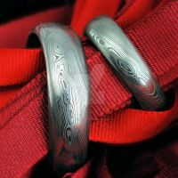 Forged wedding rings Damasteel by HyneKalista