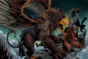Beast Man And Griffins by 1314