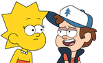 Lisa Simpson with Dipper Pines by SuperMarcosLucky96