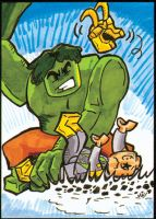 LEGO Hulk meets LEGO Loki sketch card by PlummyPress