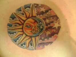 sun moon tattoo by kenpower