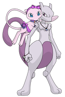 My Mew and Mewtwo by Reitanna-Seishin