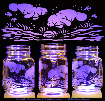 Etched Glass - Manatees by KiRAWRa