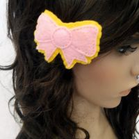 Pink n Yellow Bow Hair Clip by hellohappycrafts