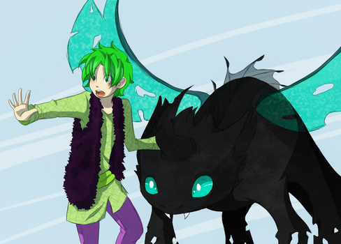 Spike and Thorax S-6 E-16 (MLP/HTTYD Crossover) by CocoDango