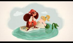 Pirate and a Mermaid by dinglehopper