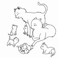Cat Family Lineart Outlined by RJtheAwesome