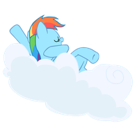 Rainbow Dash on cloudlet - vector by SapphireBeam