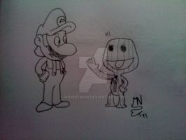 Mario and SackBoy by MrNintMan
