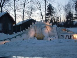 dinosaur snow sculpture by tabby25