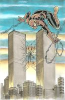Spider-Man Twin Towers commission by Frisbeegod