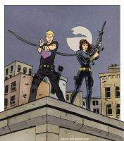 Clint and Natasha (Hawkguy-style) by astridv