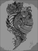 koi fish in dry brush by JOVictory