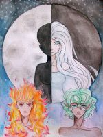 Sun, Moon, and Earth: The First Lunar Eclipse by fanastyfinder