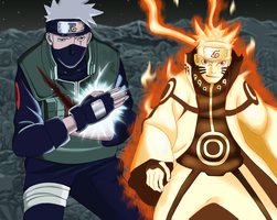 Naruto manga 608 ... Kakashi and Naruto by Fanklor