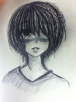 Short Hair Girl Ink Sketch by LadyDeathCandy