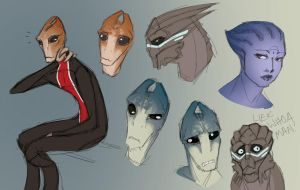 Mordin + OCs by o-rlyization
