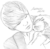 Junhyung with cat by Sameru